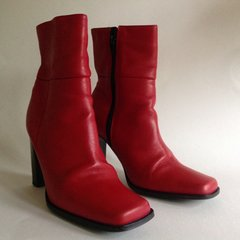 Faith Vintage 1980s Red Leather Square Toe Zip Up Ankle Boots UK 6 EU 39