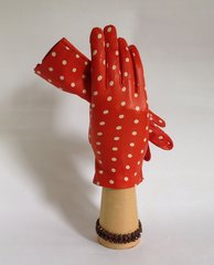 Vintage Inspired 1960s Style Red & White Spotted Leather Gloves Mod Gogo Rockabilly Size 6