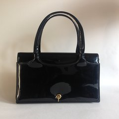 Debonair 1960s Vintage Handbag In Black Patent Leather   With a Black  Fabric Lining