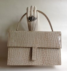 St Michael Twiggy Style Patent Ivory 1960s Moc Croc Vintage Handbag With Grained Fabric Lining