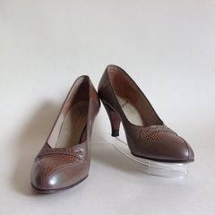 Alendé Taupe Pearlescent Leather & Lizard 1950s Vintage Court Shoes UK 4 EU 37