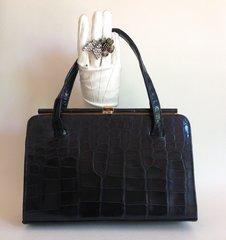 Black Crocodile Skin 1940s Vintage Handbag Beige Suede Lining Brass Plated Frame