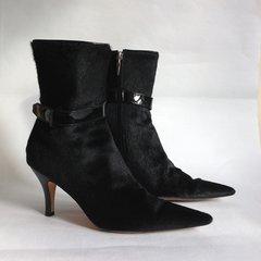 HOBBS Black Mid Calf Pony Skin Leather 3.25 High Heel Boots Size UK 4 EU 37