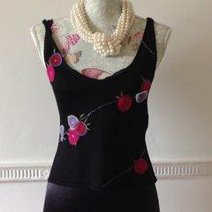 Karen Millen Black Flower Decorated Fitted Cropped Stretch Vest Top Size 2 UK 10