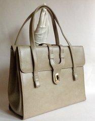 WEYMOUTH AMERICAN 1960s Large Vintage Handbag Aged Ivory Faux Leather Kelly Bag