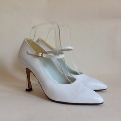 "Faith White Vintage 1990s Leather Almond Toe Mary Jane 4"" Heel Shoes Size UK 6 EU 39"