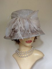 HATBOX Ivory Asymmetrical Natural Fibres Hat With Feather Side Detailing