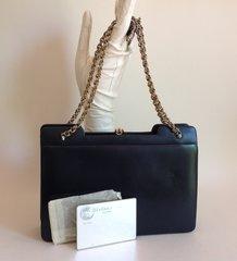 Fior London Riviera Handbag 1970s Blue Leather Vintage Handbag With Riviera Mirror in original paper.
