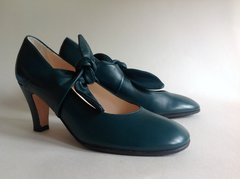 HOBBS Gorgeous Vintage Style Round Toe Sea Green Ladies  All Leather Mary Jane Shoe.  UK Size 5 EU 38