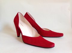 "HOBBS Red Suede Leather 3.25"" Cone High Heel Half D'Orsay Court Shoe Size UK 5 EU 38"