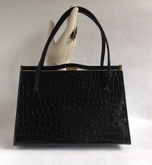 Black Synthetic Moc Croc 1950s Vintage Handbag Kelly Bag Black Fabric Lining
