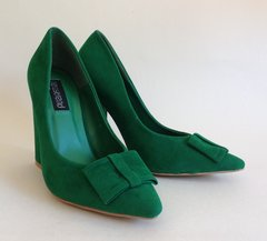 Nelly Trend 'Sabryne' Green Suede Court Shoes New With Box & Protective Bags UK 3 EU 36