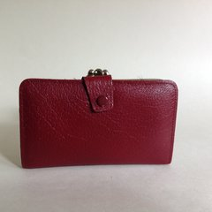 Vintage 1960s Burgundy Textured Leather Coin Purse Wallet Leather Lining Mad Men