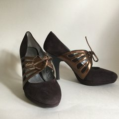 Calvin Klein Women's Brown Suede Leather Lace Up Mary Jane Shoe UK 3 EU 36 US 6M
