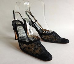 "Emma Hope Black Suede Leather & Lace 3.5"" Slim Heel Sling Back Shoe Size UK 3.5 EU 36.5"
