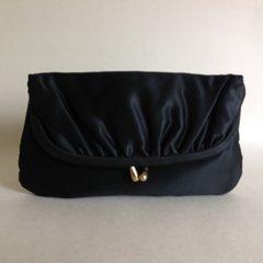 Silcrest 1950s Black Satin Vintage Clutch Bag