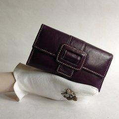 Marta Ponti Purple Large Leather Purse Wallet Leather & Paisley Fabric Lining