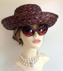 Brown 1950s Synthetic Straw Vintage Hat With Brown Petersham Ribbon & Bow