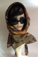 "Picasso Style Vintage 1970s 39"" Large Scarf Geometric Olive Beige Gold Polyester"