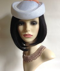 Vintage 1960s White Pill Box Hat With Peach Flower Detail To Rear 100% Visca
