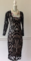 Fully Lined Long Sleeve Below Knee Black Lace Shift Stretch Dress Size L- 12