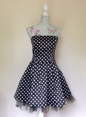 Therapy Polka Dot Rockerbilly Style Bandeau Skater Mini Dress
