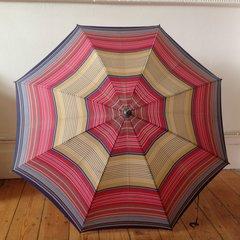 St Michael 1960s Vintage Umbrella Red Blue Brown Striped Hook Handle Polyamide