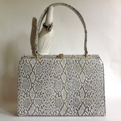 1950s Cobra Print Leather Vintage Handbag Buff Suede Lining Kelly Bag Mad Men