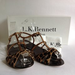 L.K. Bennett Leopard Print & Gold Pony Leather Flat Sandals With Box & Protective Bag UK 4 EU 38 Called Tibu