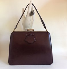 JEDCOBAG 1940s Vintage Handbag Chestnut Brown Leather Tan Suede Lining