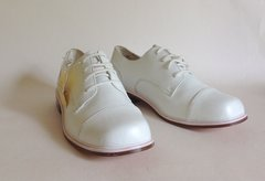 Cavalier 1980s White Leather Vintage Cap Toe Derby Style Lace Up Shoes UK 4.5
