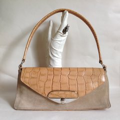 FURLA Beige Suede & Tan Leather Moc Croc Handbag Tan Fabric Lining Size 13 x 6 x 4 inches.