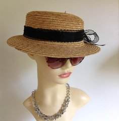 Natural Straw Ladies Boater Dress Races Hat