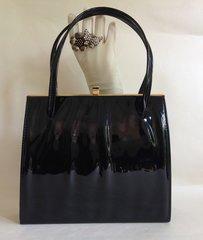 1950s Patent Vintage Handbag With Beautiful Red Satin Lining