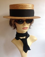 BATES Vintage Mens Straw Boater Hat Black Petersham Ribbon Leather Sweat Band