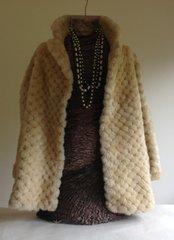 Golden Swallow Ivory Genuine Sheepskin Lamb Shearling Ladies Car Coat UK 10