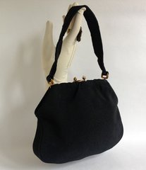 FREEDEX Black Grosgrain Gold Toned Framed 1960s Vintage Handbag With Satin Lining and Spaced Pearl Kiss Clasp.