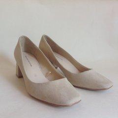 "ZARA Beige Suede Leather 2.5"" Block Heel Round Toe Court Shoe  Size UK 4 EU 37"