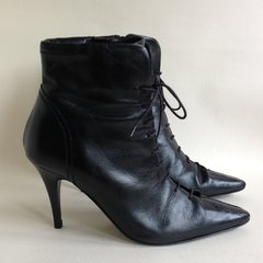 KALIKO Ankle Boots Black Leather 3.75 Heel Lace Front Side Zip Size UK 4 EU 37