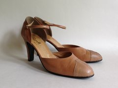 "Russell & Bromley Tan Leather & Lizard 3.5"" Heeled Mary Jane Shoe UK 7.5 EU 40.5"