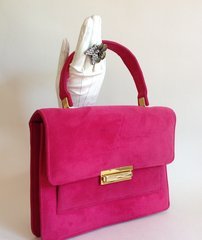 Hot Pink Cerise 1960s Suede Vintage Handbag Kelly Bag With Black Leather Lining