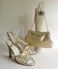 "Dolcis Stardust Vintage 1960s Gold Fabric 4.25"" Heel Sandal & Handbag UK 4 EU 37"