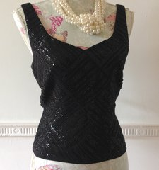 Precis Black Beaded Polyester Sleeveless Evening Fully Lined Crop Size Top Size 14