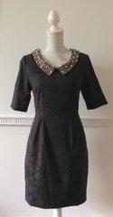 DARLING Charcoal Brocade Tea Cocktail Dress Diamanté & Beaded Collar Size S (8)