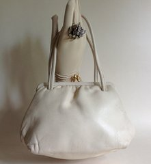 Soft Ivory Leather Vintage Handbag With  Leather Covered Frame & Satin Lining