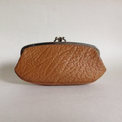 Tan Large Textured Leather 1950s Vintage Double Sided Coin Purse Mad Men.