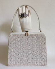 WIKLOR Clarks 1950s Leather & Swiss Lace Vintage Handbag Fabric Lining & Mirror