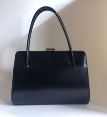 WALDYBAG 1950s Black Calf Leather Vintage Handbag Satin Lining Kelly Bag