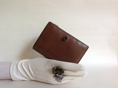 FURLA Well Loved 1980s Brown All Leather Small Purse Wallet With Leather Lining