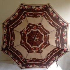 St Michael Polyamide 1960s Vintage Milk Coffee Umbrella With Brown Hook Handle